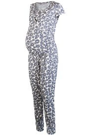Queen Bee Blue Poppy Print Maternity Nursing Catsuit by Queen mum