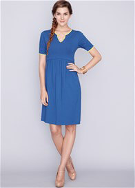 Queen Bee Linda Bamboo Maternity Nursing Dress in Blue by Dote