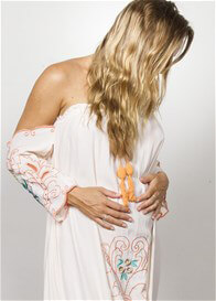 Queen Bee City of Angels Off Shoulder Maternity Maxi Dress by Fillyboo