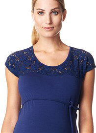 Queen Bee Lace Insert Maternity Dress in Navy by Esprit
