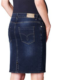 Queen Bee Over Bump Denim Maternity Skirt in Dark Wash by Esprit