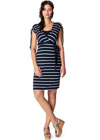 Queen Bee Lotta Navy Striped Maternity Nursing Dress by Noppies