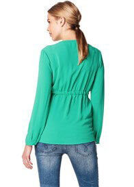 Queen Bee Crepe Gathered Maternity Blouse in Moss Green by Esprit