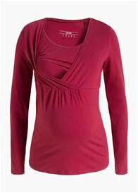 Queen Bee Long Sleeve Maternity Nursing Top in Mission Red by Esprit