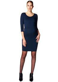 Queen Bee Layered Look Maternity Nursing Dress in Blue by Esprit