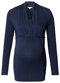Queen Bee Shawl Collar Jersey Maternity Nursing Shirt in Navy by Esprit