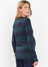 Queen Bee Fine Knit Empire Maternity Jumper in Blue/Green Stripes by Esprit