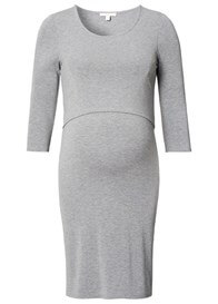 Queen Bee Layered Look Maternity Nursing Dress in Grey by Esprit