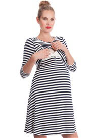 Queen Bee Nadia Striped Bamboo Maternity Nursing Dress by Seraphine