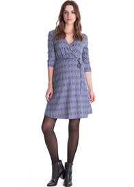 Queen Bee Milana Maternity Wrap Dress in Purple Print by Seraphine