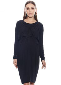 Queen Bee Alicia Gathered Maternity Dress in Black by Imanimo
