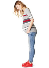 Queen Bee Yara Mixed Stripe Ribbed Maternity T-Shirt by Supermom