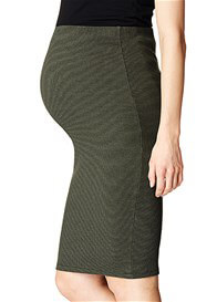 Queen Bee Polly Maternity Pencil Skirt in Army by Supermom