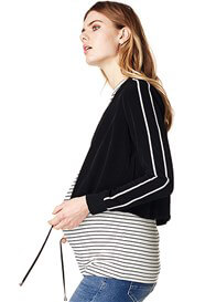Queen Bee Pleun Twin Stripe Cropped Maternity Jacket by Supermom