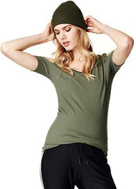Queen Bee Pearl Cut-Out Shoulder Maternity Top by Supermom