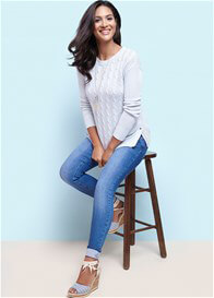 Queen Bee Judy Cable Knit Nursing Jumper in Powder Blue by Seraphine