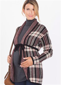 Queen Bee Knit Maternity Cardigan in Burgundy Plaid by Esprit