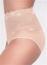 Queen Bee Lisette Postpartum Lace Control Briefs in Mocha by QT Intimates