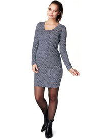 Queen Bee Emma Maternity Zipper Dress in Blue Print by Noppies