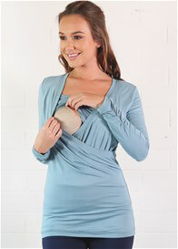 Queen Bee Estelle Faux Wrap Nursing Top in Dusty Blue by Floressa