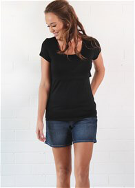 Queen Bee Rochelle Postpartum Nursing T-Shirt in Black by Trimster Clothing