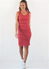 Queen Bee Sophia Red Striped Nursing Tank Dress by Trimester Clothing