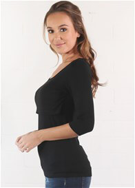 Trimester™ - Valerie 3/4 Sleeve Nursing Top in Black