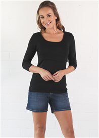 Queen Bee Valerie 3/4 Sleeve Nursing Top in Black by Trimester Clothing