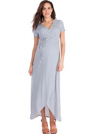 Queen Bee Gigi Faux Wrap Maternity Maxi Dress in Sky Blue Print by Seraphine