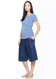 Queen Bee Everyday Basic Maternity Nursing Tee in Blue Stripe by Milky Way