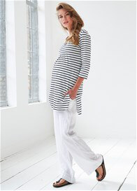 Queen Bee Breton Stripe Maternity Tunique in White/Blue Stripes by Queen mum