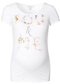 Queen Bee You & Me Vintage Print Maternity Tee in White by Esprit