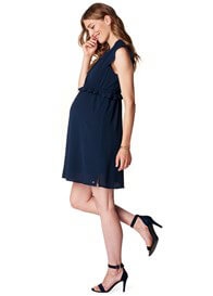 Queen Bee Ruffle Crepe Maternity Dress in Night Blue by Esprit