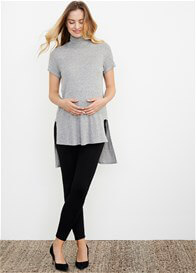 Queen Bee Hi-Lo Maternity Turtle Neck Top in Grey by Maternal America