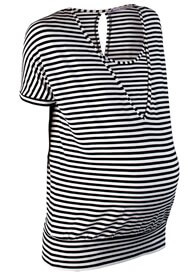 Queen Bee Slouchy Maternity Nursing Top in Black Stripes by Queen mum