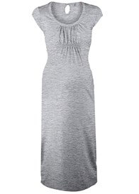 Queen Bee Gathered Midi Maternity Dress in Grey by Queen mum