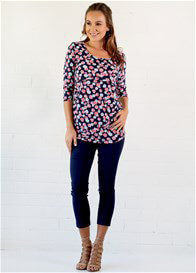 Queen Bee Sidonie Post Baby Nursing Top in Navy Floral by Trimester