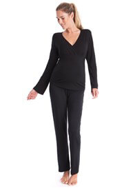 Queen Bee Bamboo Maternity Nursing Loungewear Set in Black by Seraphine