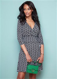 Queen Bee Black Geo Print Maternity/Nursing Wrap Dress by Seraphine
