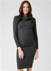 Queen Bee Ribbed Knit Roll Neck Maternity Dress in Charcoal by Ripe