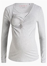 Queen Bee Button Front Maternity Nursing Top in Light Grey by Esprit