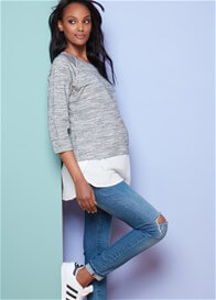 Queen Bee Layered Maternity Nursing Sweater in Grey by Seraphine