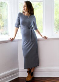 Queen Bee Destiny Maternity Maxi Dress in Navy Zigzag by Trimester