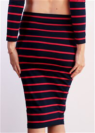 Trimester™ - Haidee Skirt in Navy/Red Stripes
