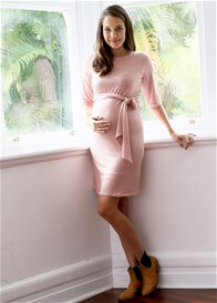 Queen Bee Isabel Maternity Shift Dress in Rose Zigzag by Trimester Clothing