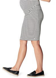 Queen Bee Black Striped Over Bump Maternity Skirt by Esprit