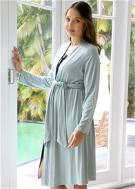 Queen Bee Sorrel Pale Green Maternity Robe by Floressa