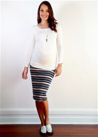 Queen Bee Leandre Foldover Maternity Skirt in Lilac Stripe by Floressa