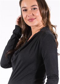 Queen Bee Draped Neck Maternity Pullover in Anthracite by Queen mum