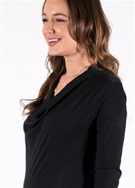 Queen Bee Draped Neck Maternity Pullover in Black by Queen mum